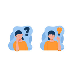 Thinking with question mark and light bulb icons vector