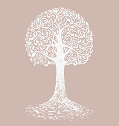 tree sketch decoration leaves hand drawn vector image