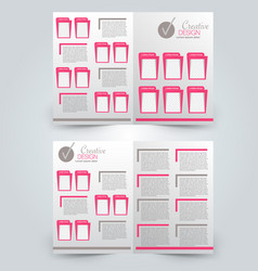 Two page fold brochure template design vector