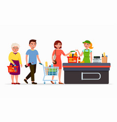 various flat people at the supermarket buying vector image