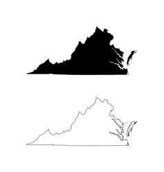 Virginia va state map usa vector