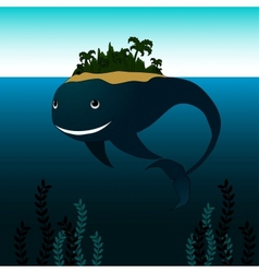 Whale with Island on his Back vector