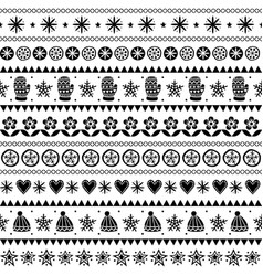 winter folk art seamless pattern christmas vector image