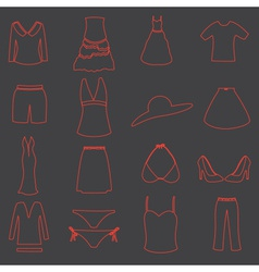 womens clothing simple outline icons set eps10 vector image