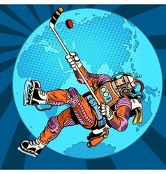 Astronaut plays hockey over planet Earth vector image vector image