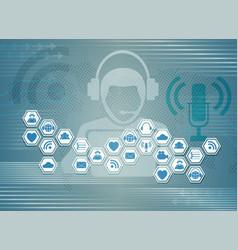 blue light background c symbols of internet social vector image