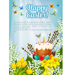 easter poster paschal cake eggs flowers vector image vector image