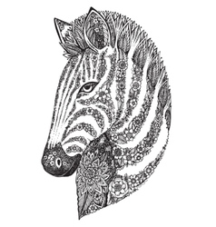 Hand drawn graphic ornate floral zebra head vector image vector image