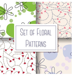 set of floral patterns vector image vector image