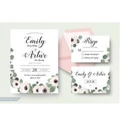 wedding invitation floral rsvp thank you card set vector image