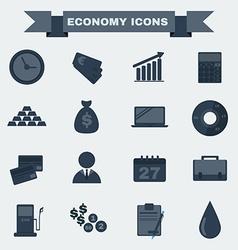 Black and white Economy icon set vector image vector image