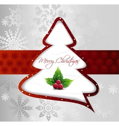 Cartoon Christmas Tree on silver card vector image vector image