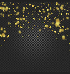 gold confetti falling and ribbons on black vector image