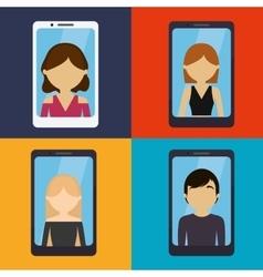 Set ed people smartphone communication vector