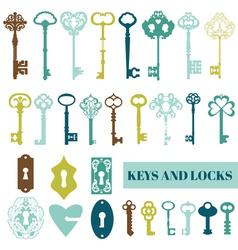 Set of Antique Keys and Locks vector image