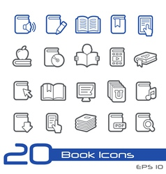Books Icons Outline Series vector image vector image