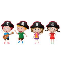 kids wearing pirate hat vector image