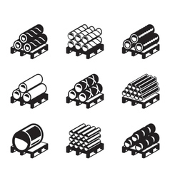 Pallets with metal plastic and rubber pipes vector image vector image