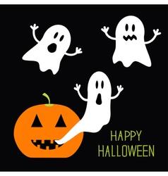 Pumpkin Candles Flying Ghost set Halloween card vector image vector image