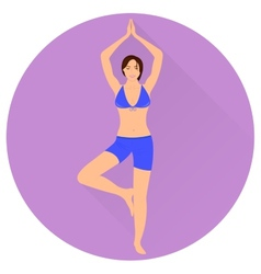 The Girl is Engaged in Yoga Icon vector image