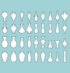 white silhouette vase set with black edge vector image