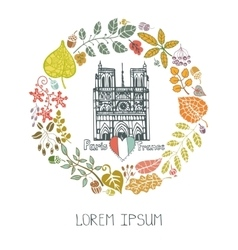 Autumn in parisleaves wreath and notre dame vector