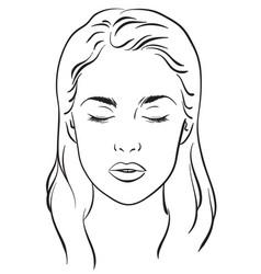 beautiful woman portrait face chart template vector image