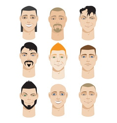 Colorful Male Faces vector image
