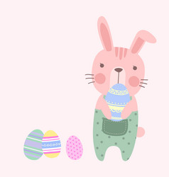 cute pastel easter rabbit holding an easter eggs vector image vector image