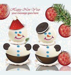 happy new year card with cute snowmen happy vector image