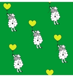 Seamless pattern sheep with heart baloon colored vector image vector image