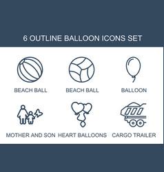 6 balloon icons vector image