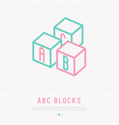 Abc blocks thin line icon vector