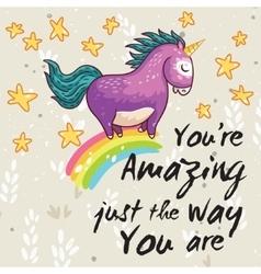 Amazing card with cute unicorn cartoon vector
