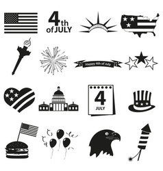 American independence day celebration icons set vector