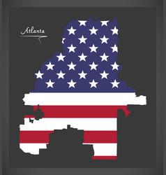 Atlanta georgia map with american national flag vector