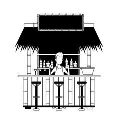 Bar beach kiosk in black and white vector