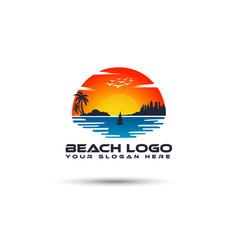 beach sun sea logo design vector image