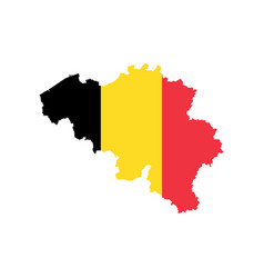 belgium map with the official flag vector image