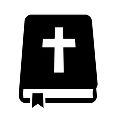 bible holy book with cross and ribbon icon vector image