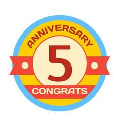 Birthday fifth badge banner design flat vector