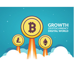 Bitcoin growth business concept digital money vector