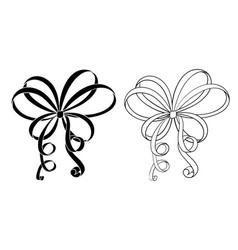 black and white ribbon bows flat icons vector image