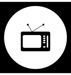 Black isolated old retro television symbol simple vector
