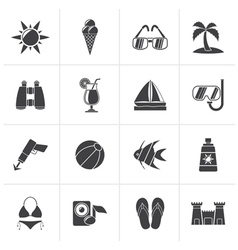 Black Tropic Beaches and summer icons vector image