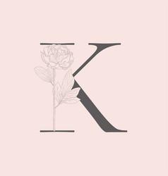 Blooming floral initial k monogram and logo vector