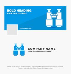 Blue business logo template for binoculars find vector