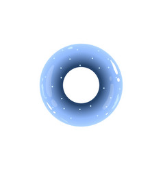 blue inflatable ring from top view with realistic vector image