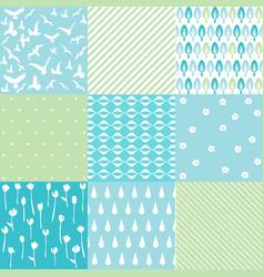 blue natural pattern set vector image