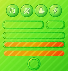 bright green game ui elements - buttons and bars vector image